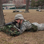 Boston, MA, Feb. 16, 2012 - Members of the Boston University Reserve Officers' Training Corps run a training exercise on the Charles River esplanade Thursday afternoon. Here, a cadet takes a ...